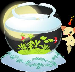 冬の金魚鉢